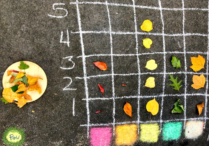 Pictograph with leaves. Data handling for children. Using leaves to teach children data handling. Autumn leaf activity for children.