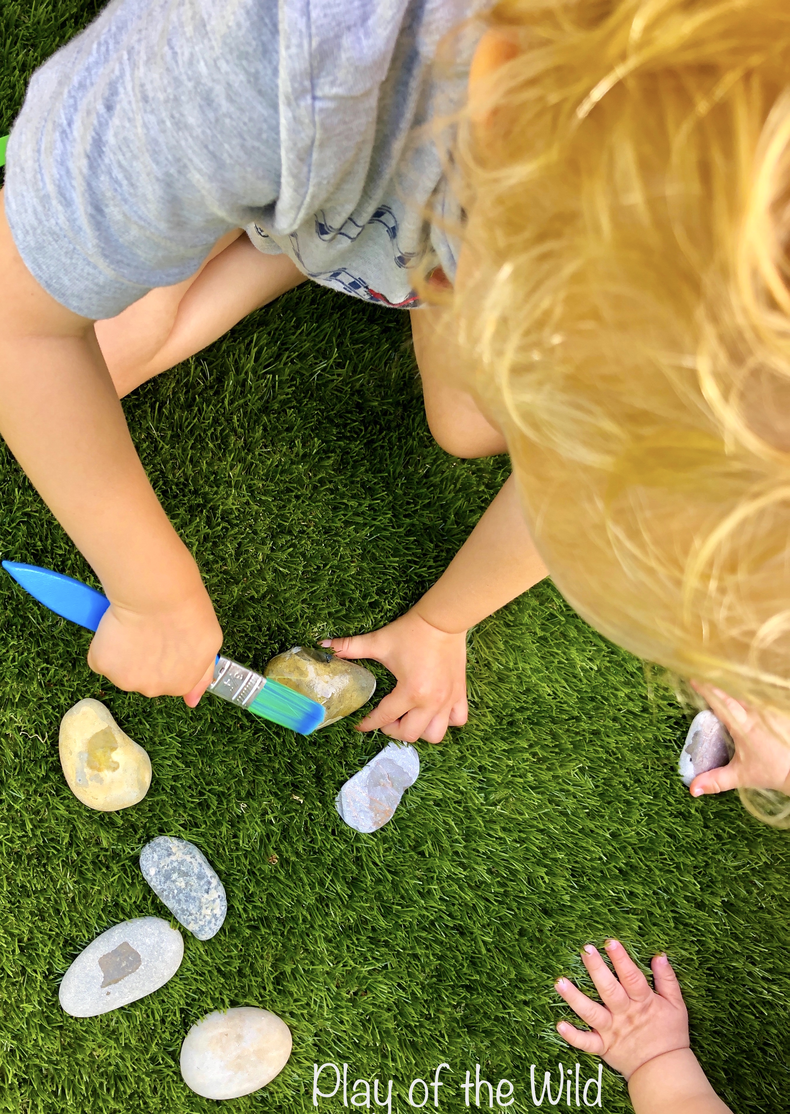 Painting rocks with toddlers.