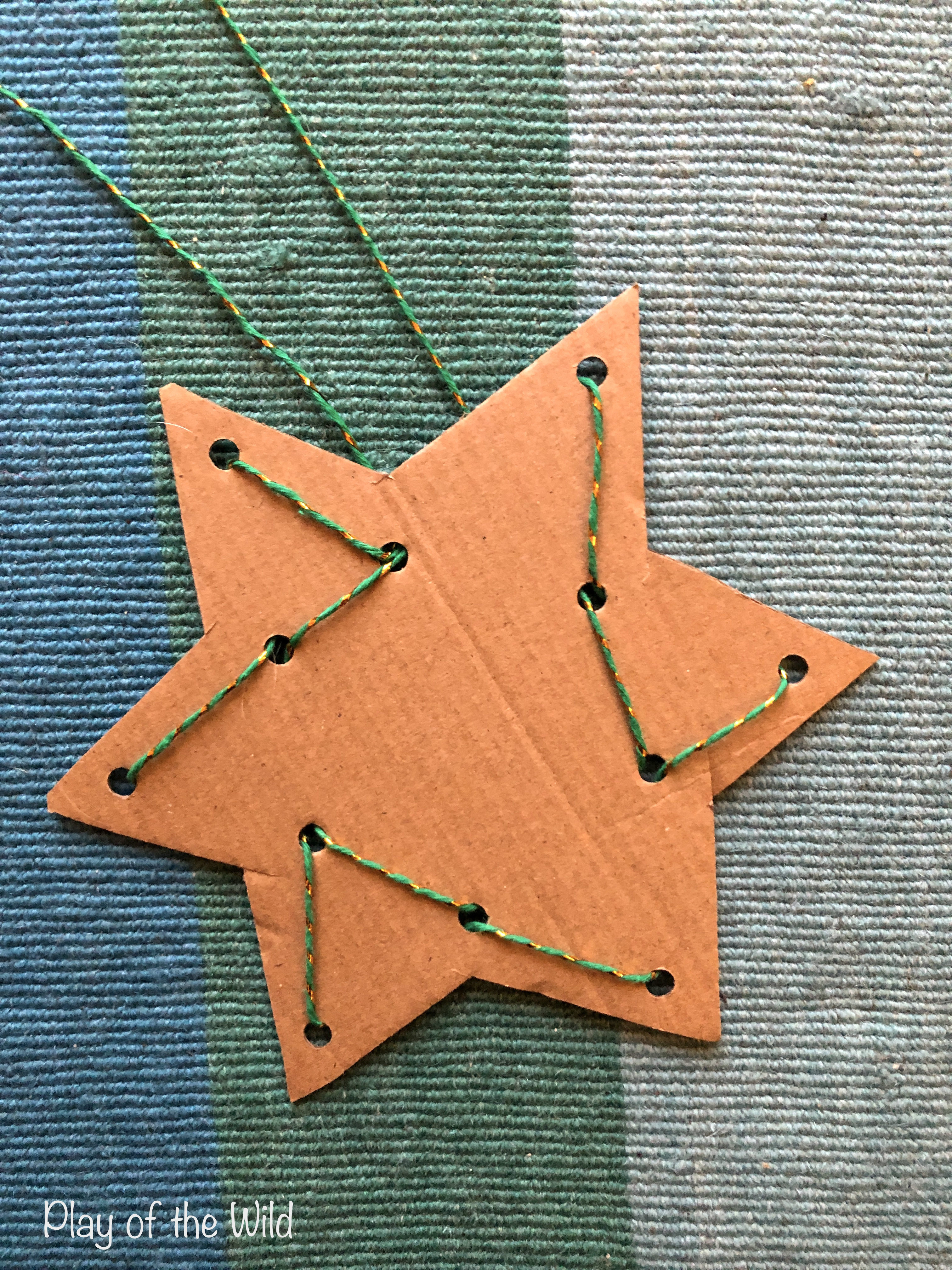 Easy Fine Motor Activities for Christmas & Hannukkah. threading star. Pre-writing Activities for Preschoolers & Kindergarten & toddlers. Pre writing activity for toddlers.