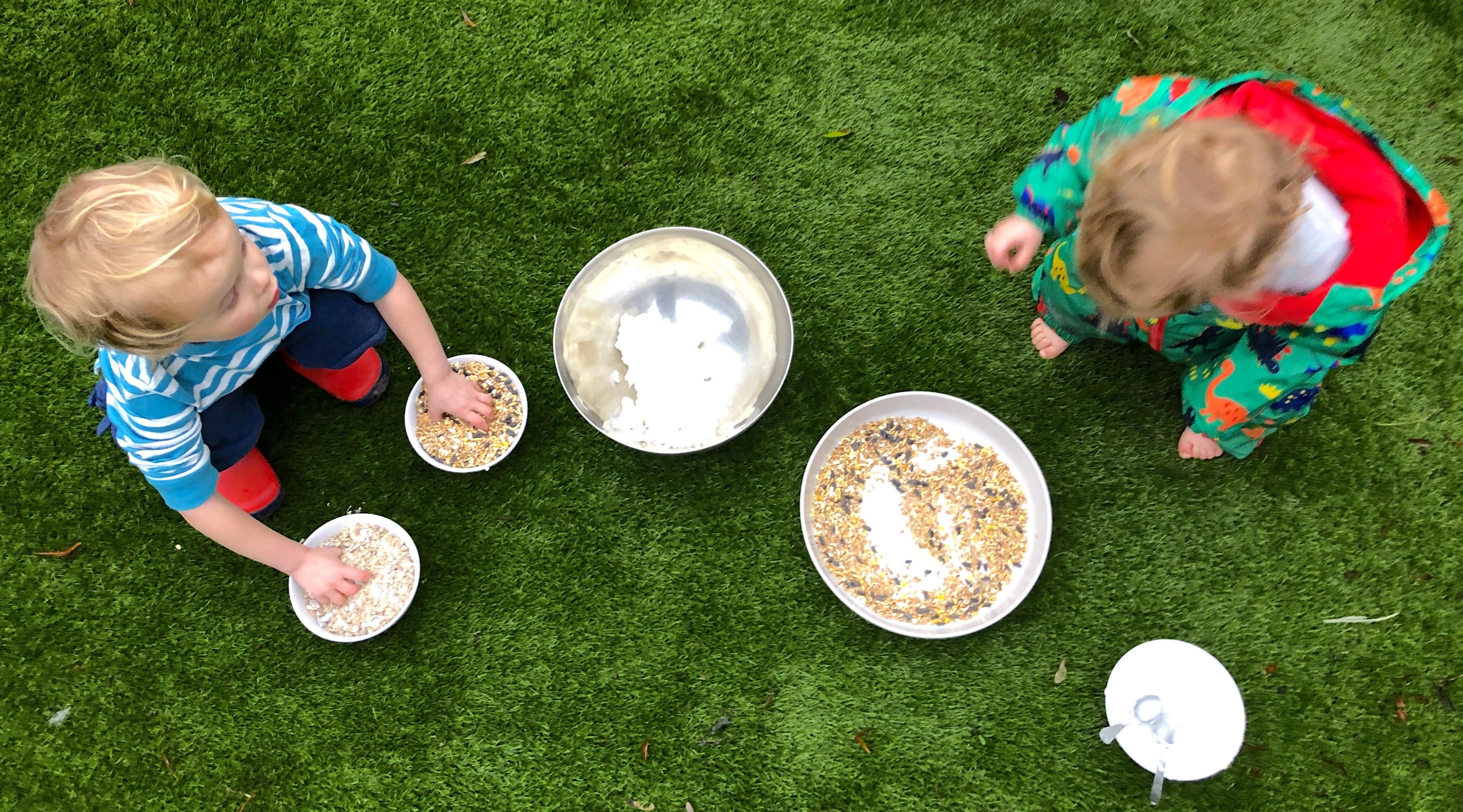 children making bird cakes.