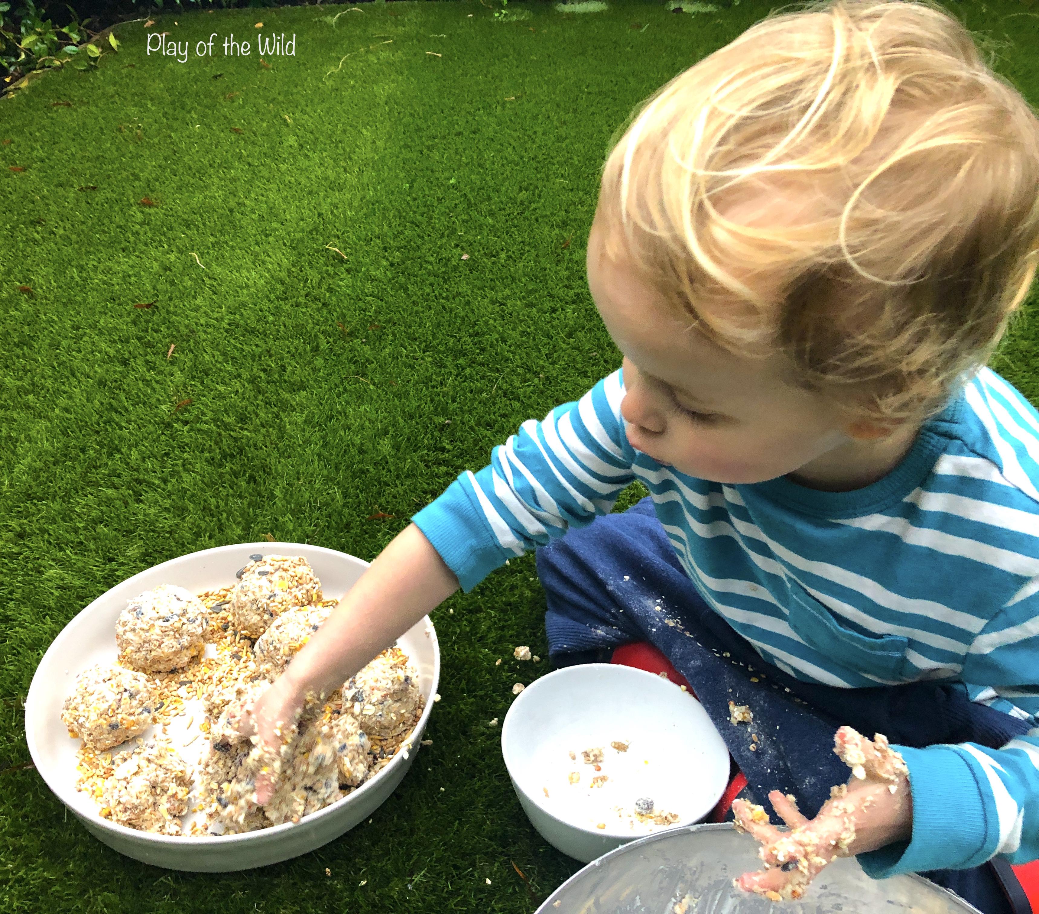 child make a Bird Feeder without Peanut Butter (Suet Cake)