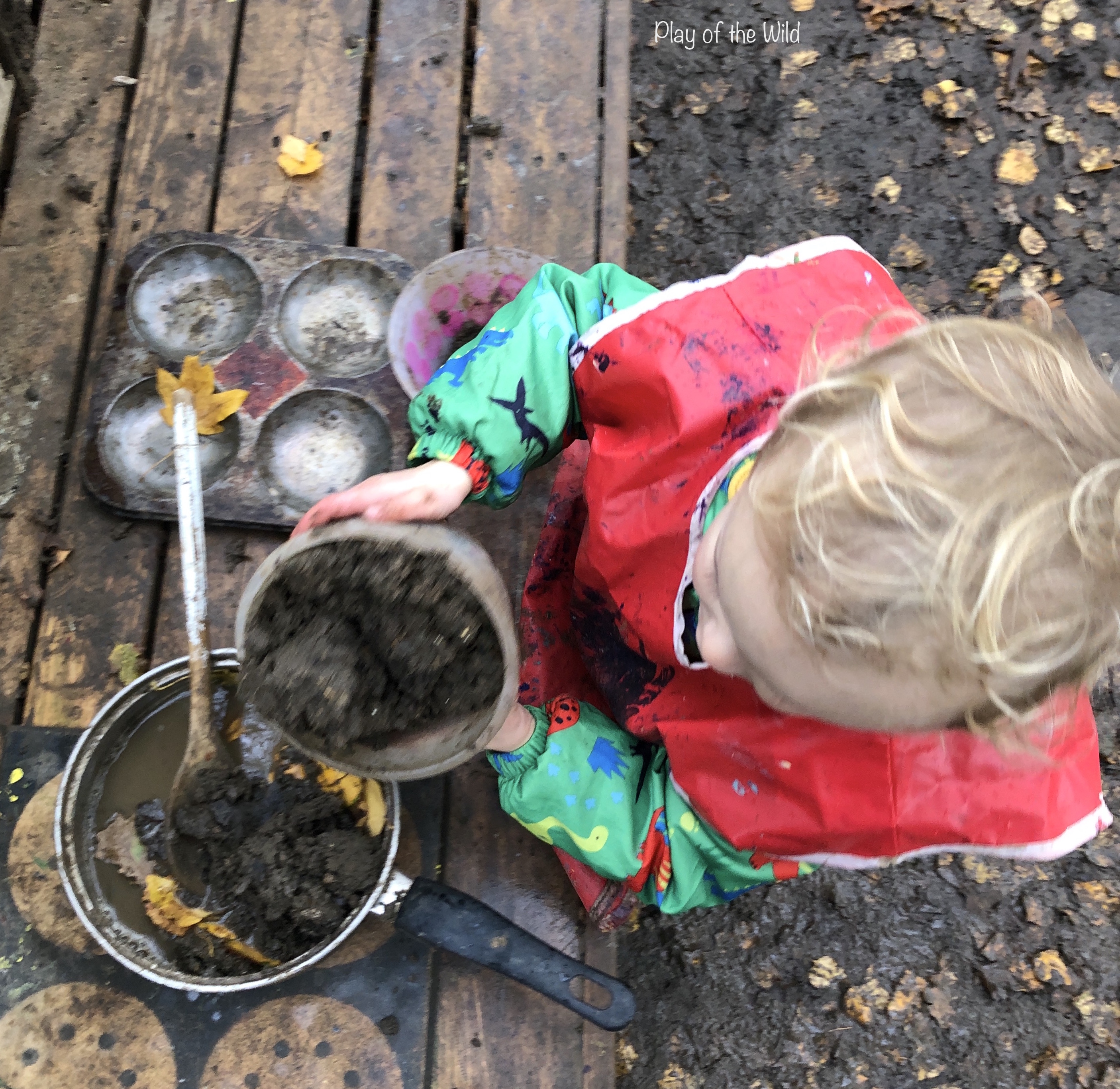 mixing mud for mud kitchen
