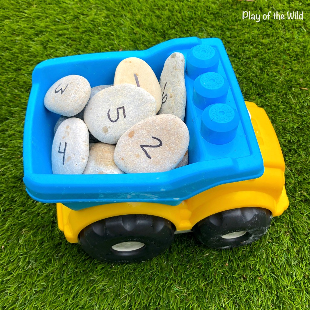 number rocks and truck play