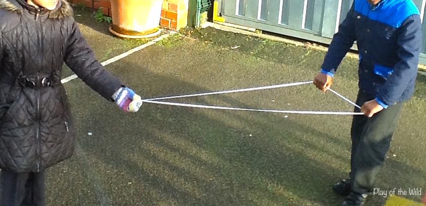 Outdoor Maths Activities EYFS – Outdoor Maths Ideas. making shapes with string preschool