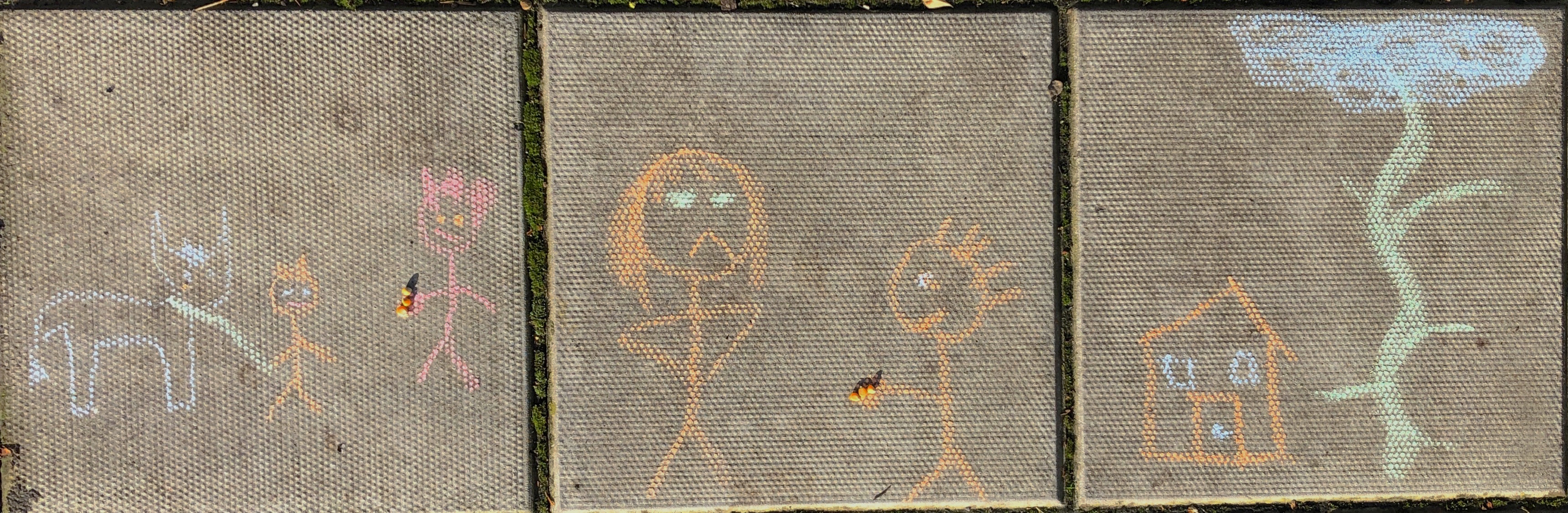 literacy outdoors. Outside story map to help children recount and then re-write the story.