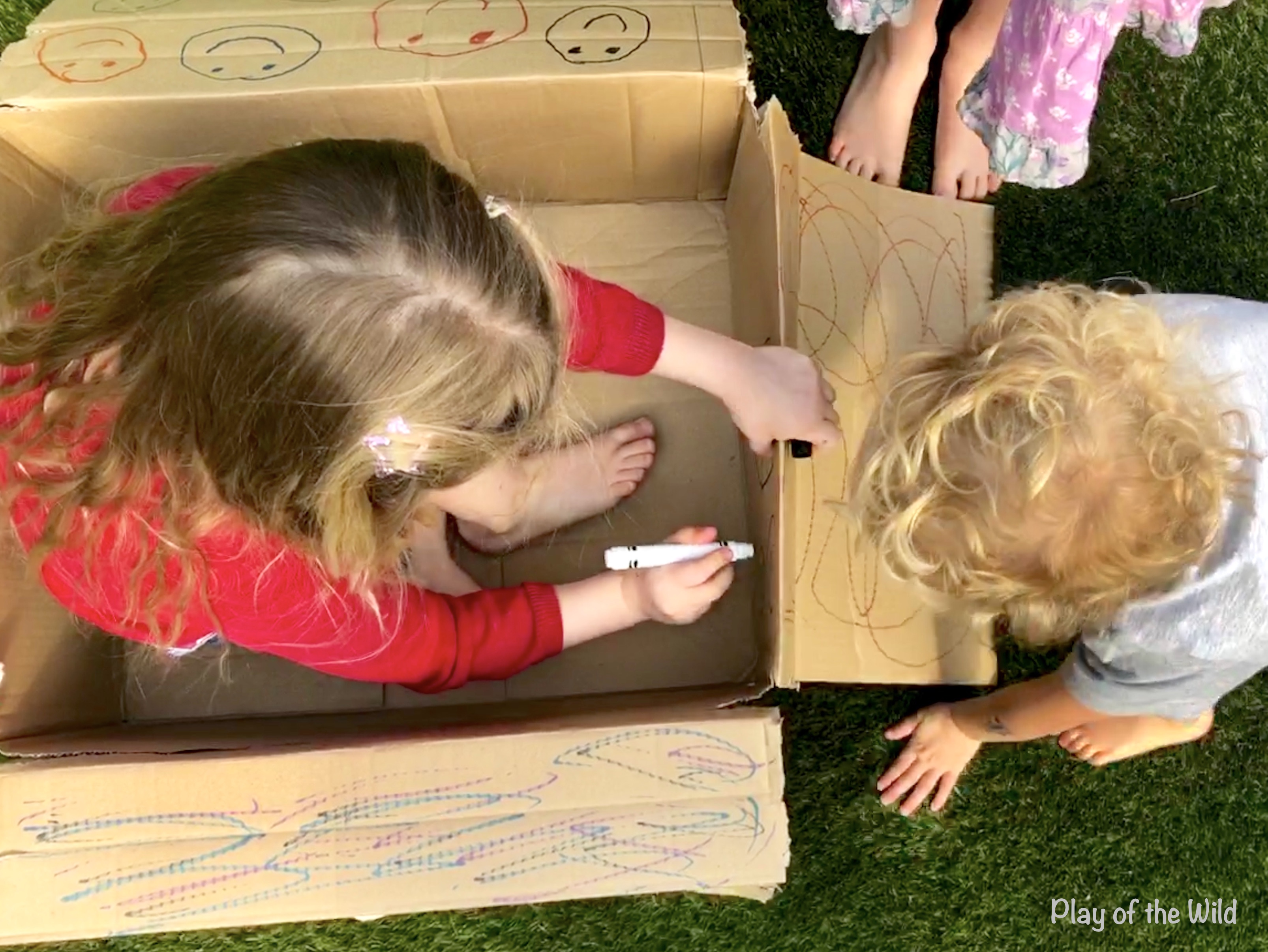 Pre-writing Activities for Preschoolers & Kindergarten & toddlers. Pre writing activity for toddlers. mark making on boxes