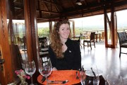 At the ver fancy restaurant at the end of the game drive. The food was excellent, and there were monkeys.