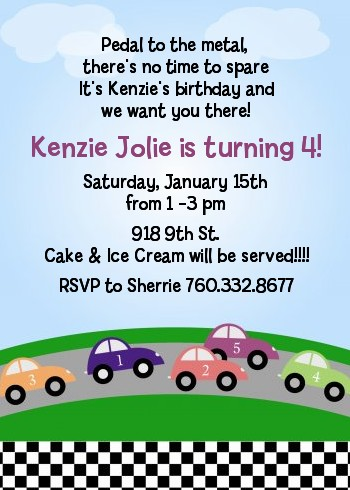 wheel fun race car party invitations