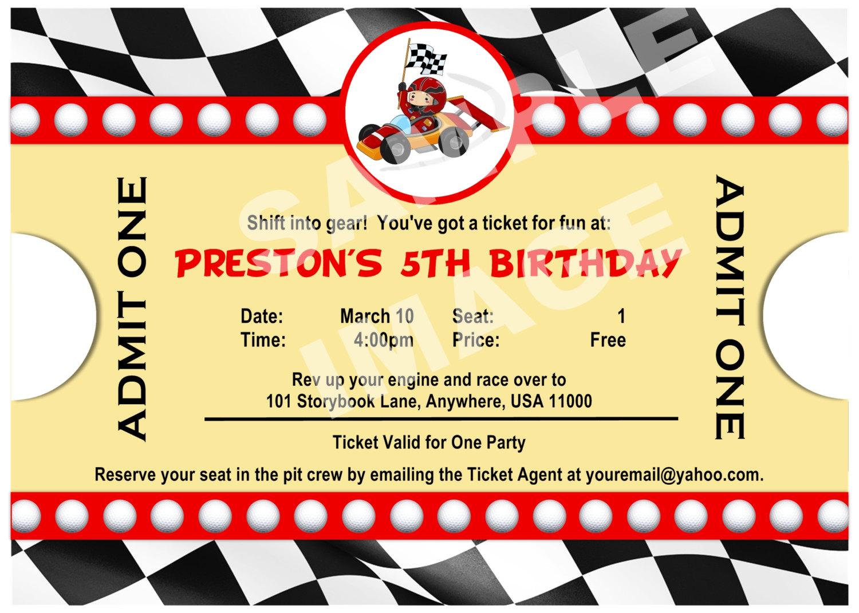 wheel fun race car party invitations