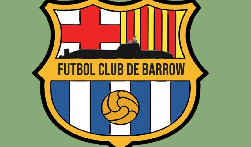 A Barcelona crest that says Futbol Club de Barrow which has become Barrowcelona
