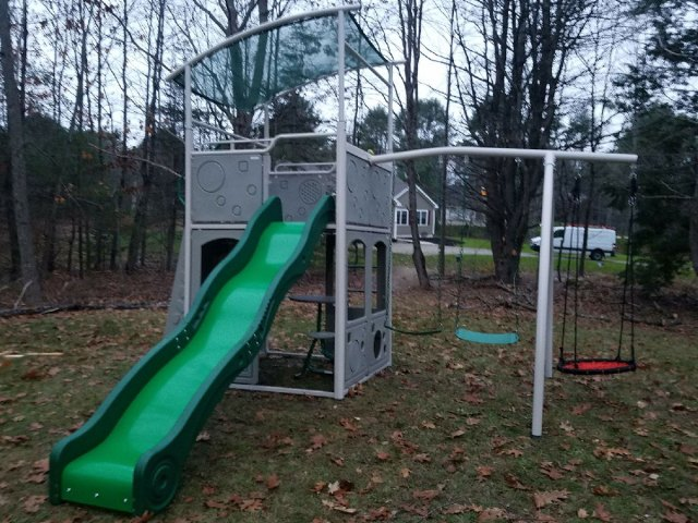 Backyard Discovery Castle Grey Metal Swing Set Assembly in Brunswick, ME