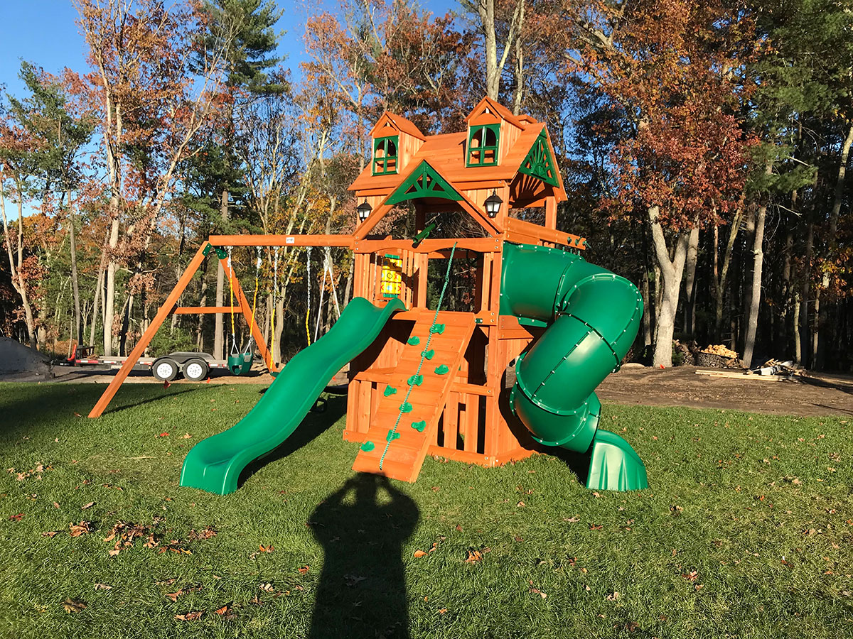 Gorilla Malibu Extreme Clubhouse Swing Set Assembly in Wrentham, MA