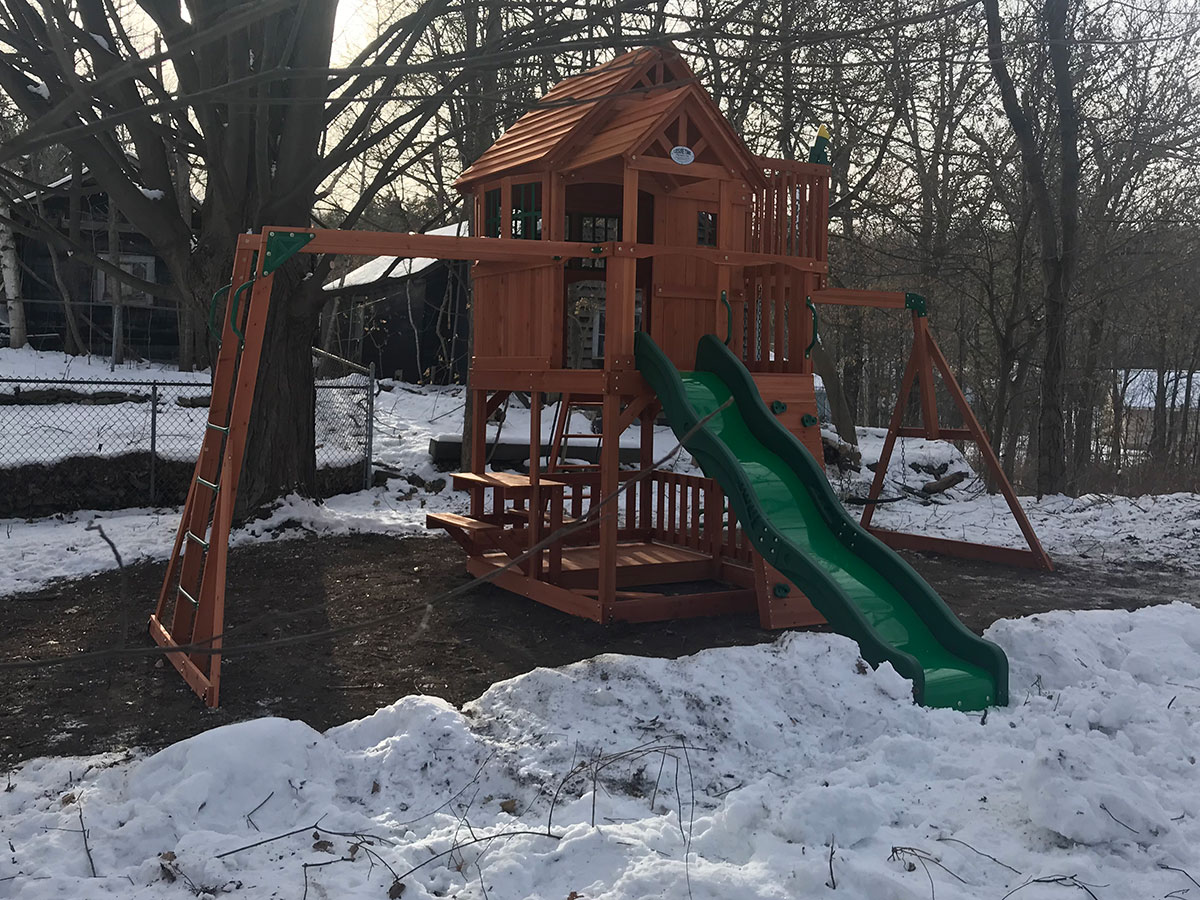 Backyard Discovery Skyfort II Swing Set Installed in Holden, MA