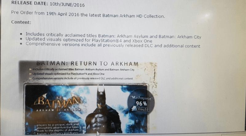 Batman Arkham Collection Gamestop Leak