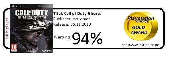 COD Ghosts PS3-Multiplayer only- Die Wertung von Playstation Choice