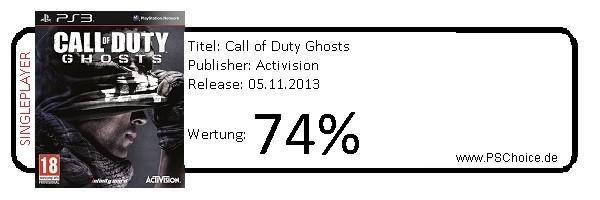 COD Ghosts PS3-Singleplayer only- Die Wertung von Playstation Choice