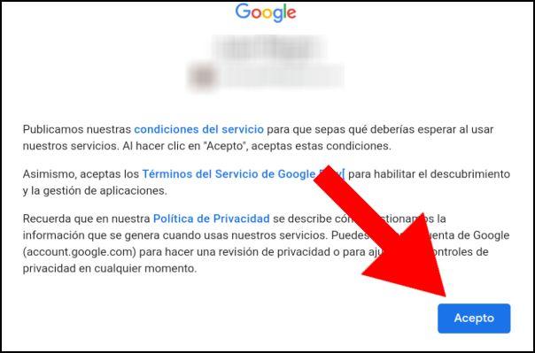 aceptar términos Google Play