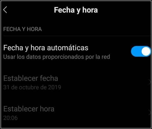 fecha y hora en Android