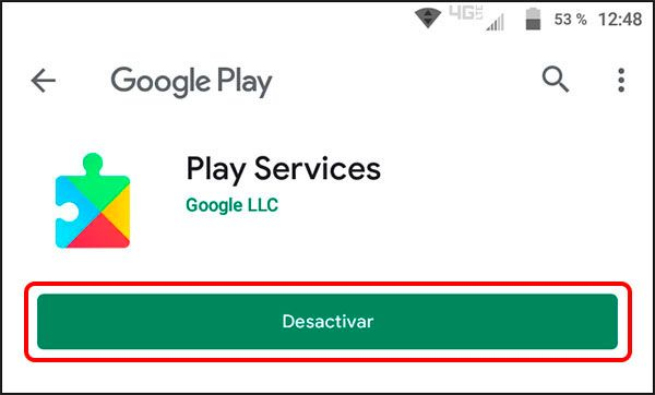 Desactivar Play Services