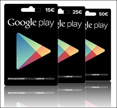 tarjetas regalo google play