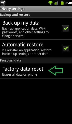 Click Factory Data Reset