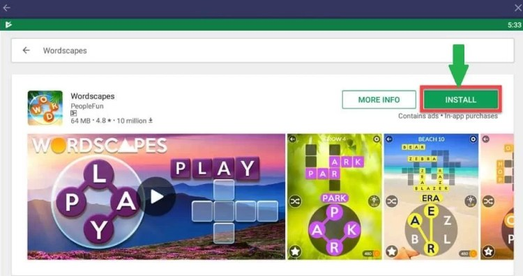 Wordscapes for PC using Bluestacks