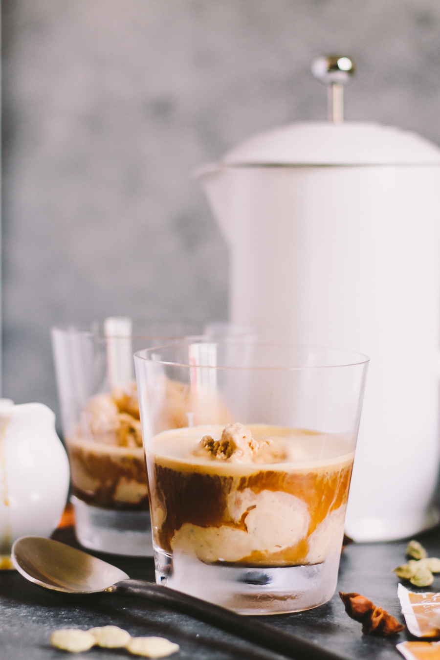 "a modern twist on affogato, this dirty chai affogato ""drowns"" a generous scoop of homemade chai ice cream with a shot of hot espresso 