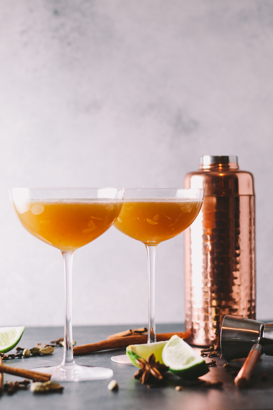 chai cocktail | cocktail | hygge ideas | date night | a chai cocktail with golden raisin-infused spiced rum & a homemade vanilla chai simple syrup. this chai cocktail is just as perfect for date night at home as it is for celebrating with friends & loved ones this winter season.