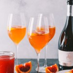 winter citrus mimosas with blood orange & honey