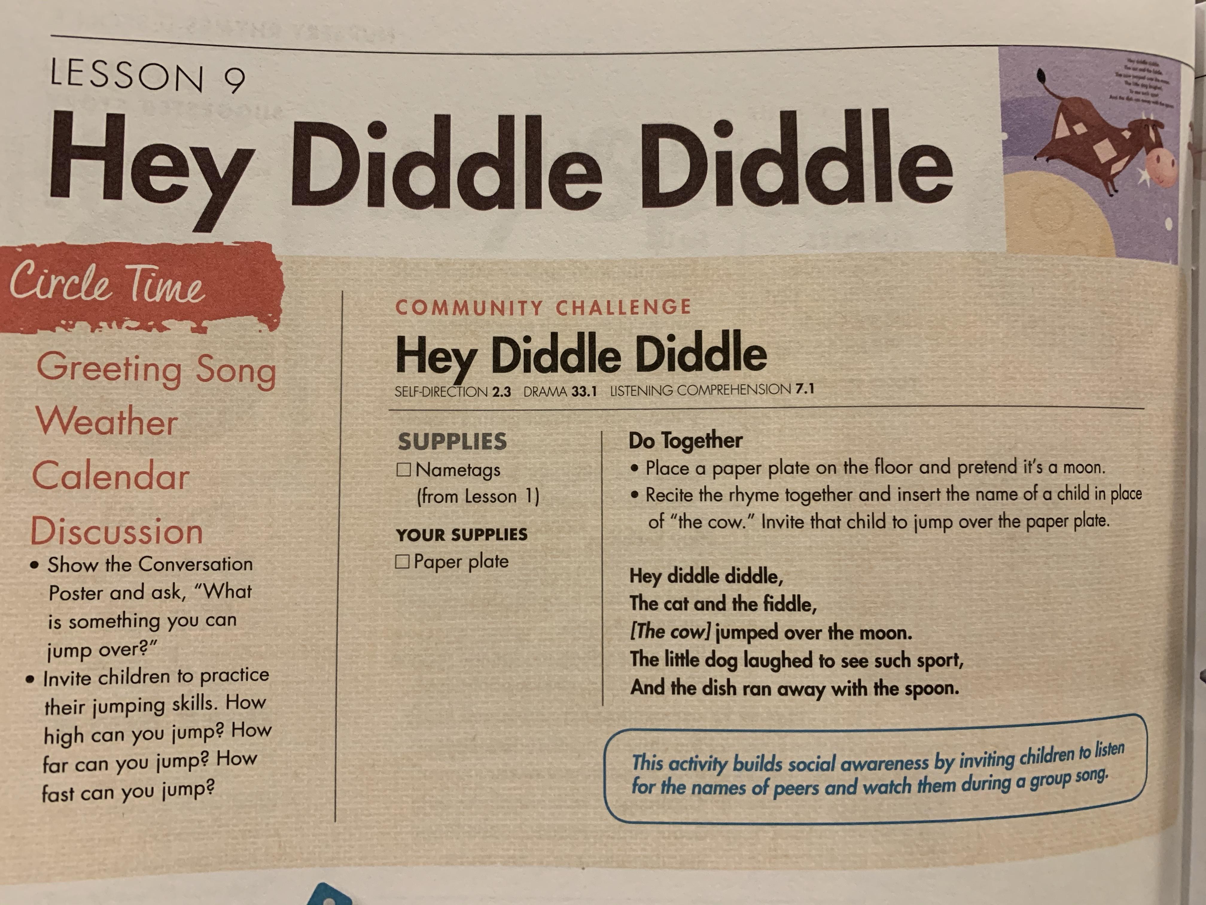 Nursery Rhymes Hey Diddle Diddle Playful Themeschool