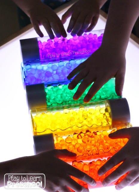 Dollar Store Rainbow Bottles For The Light Table