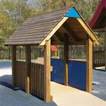 Wood playground wooden covered bridge