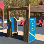 Wood playground wooden drive-thru gas pumps