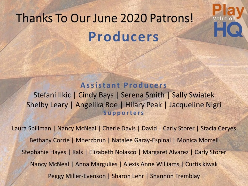 Thanks To Our June 2020 Patrons