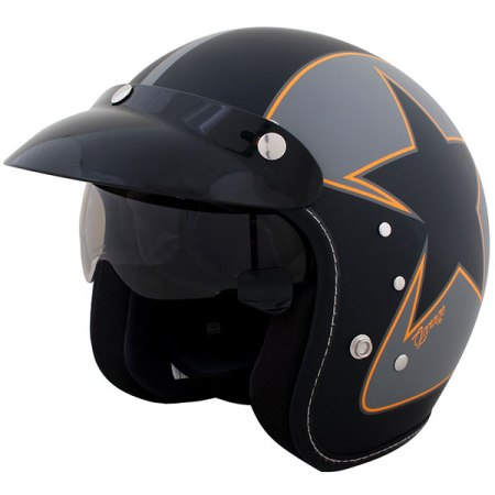 Duchinni D501 Garage Open Face Motorcycle Helmet Black