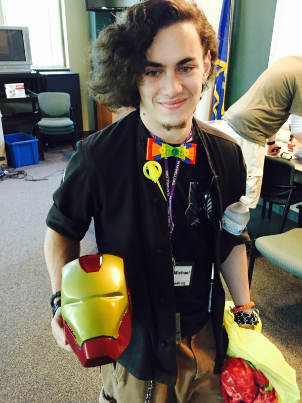 Our staffer member Michael is building a life size Iron Man Costume and brought in the helmet to show us.