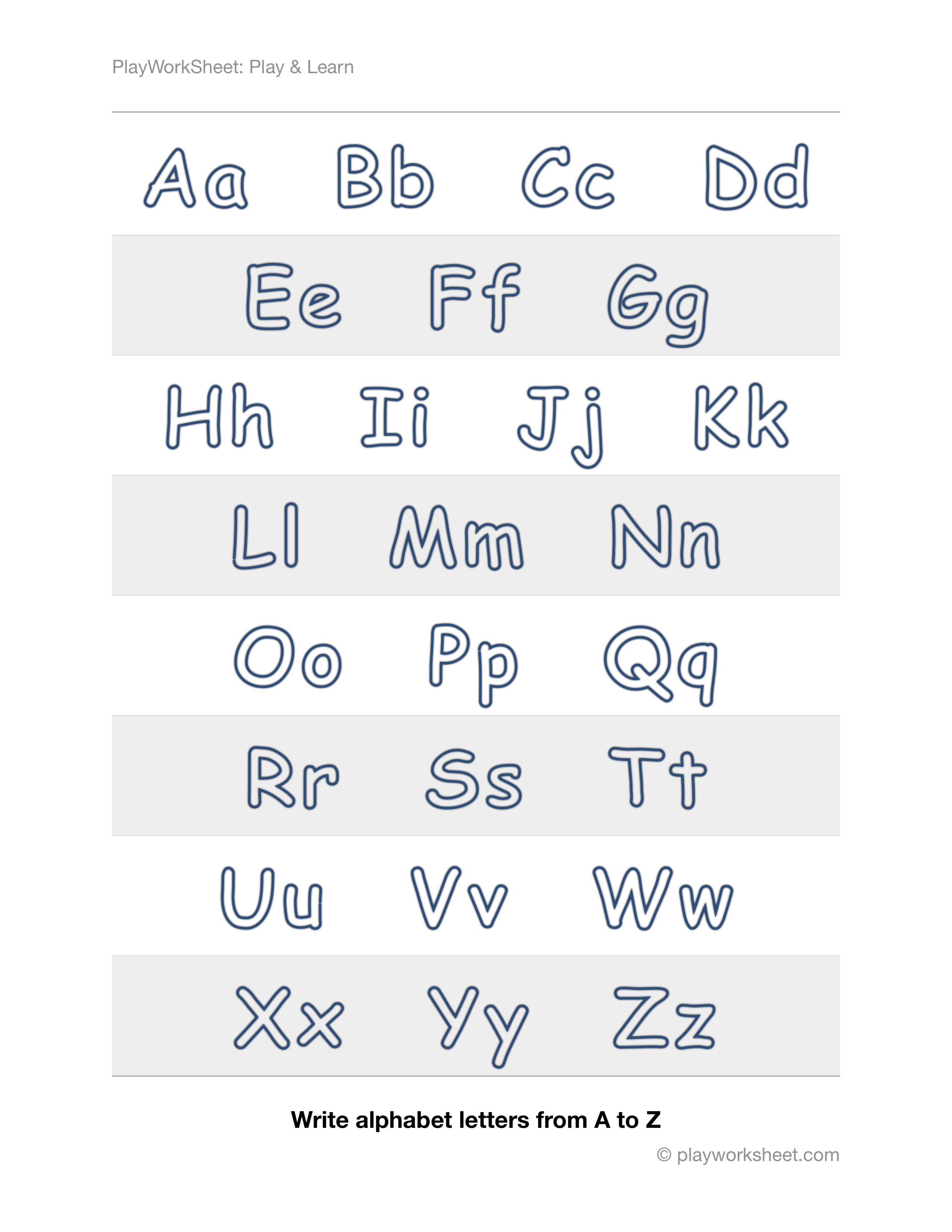 Outlines Of Alphabet Letters From A To Z In Upper And