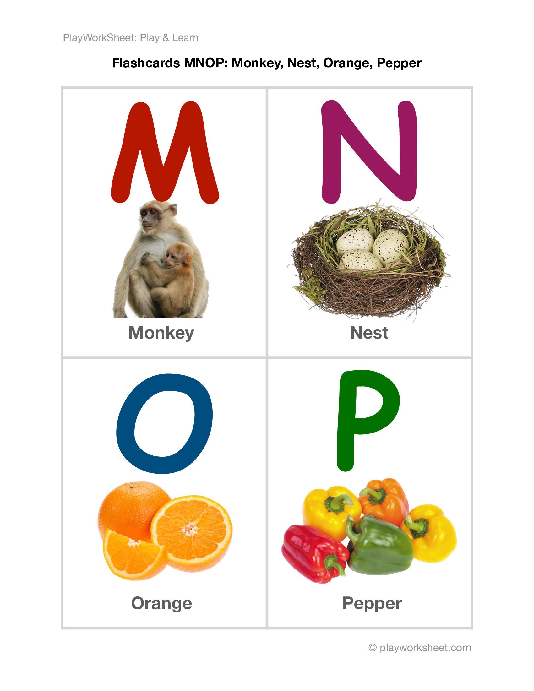 Alphabet Flashcards Mnop