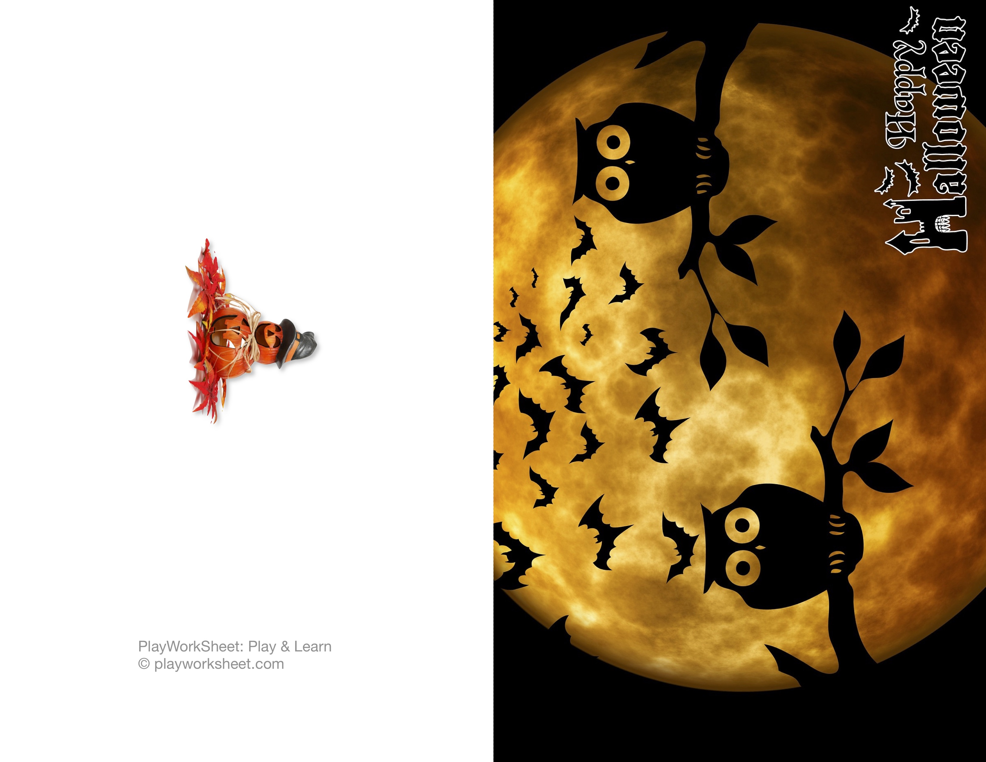Happy Halloween Card Featuring Moon Owls And Bats