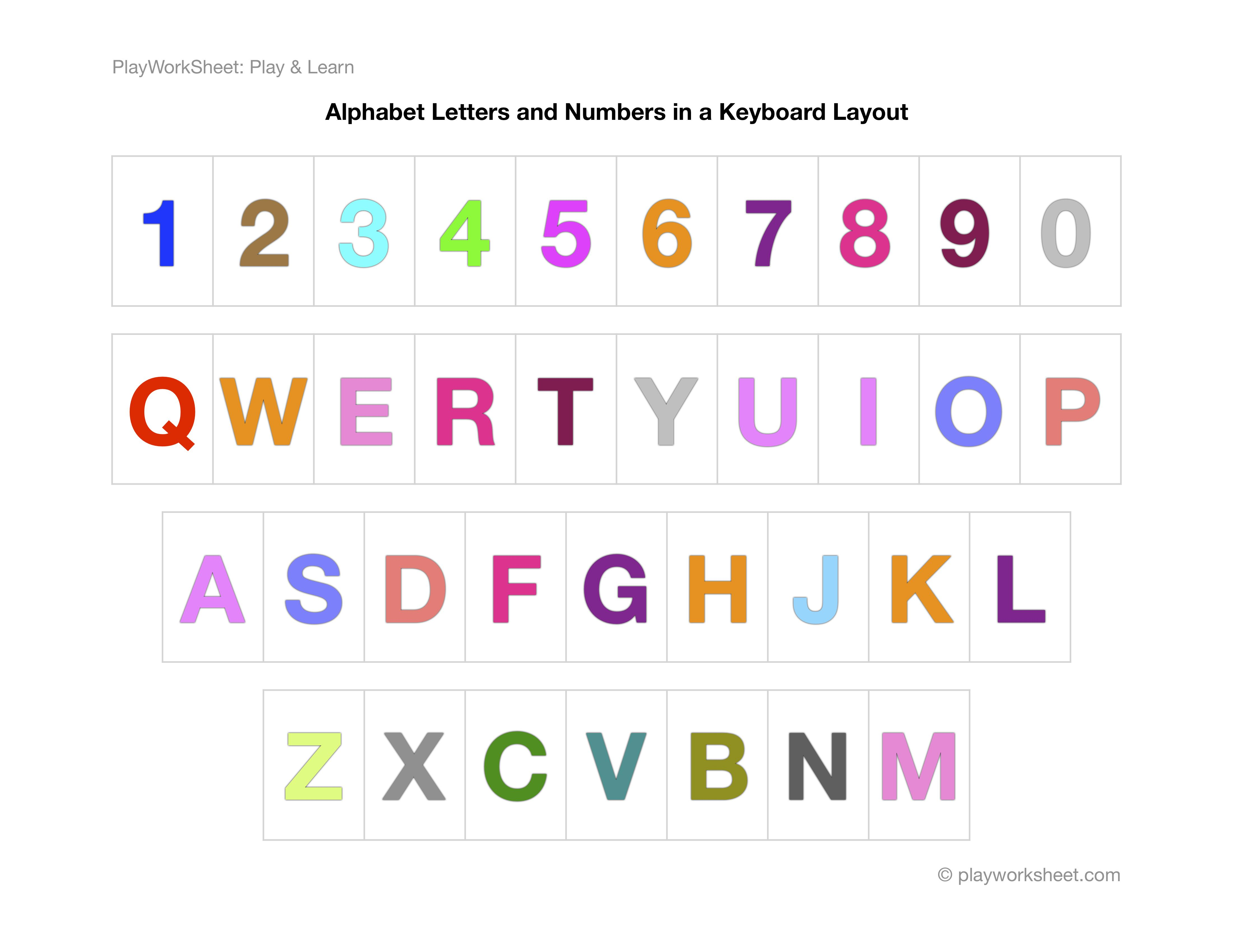 Alphabet Letters And Numbers In A Keyboard Layout