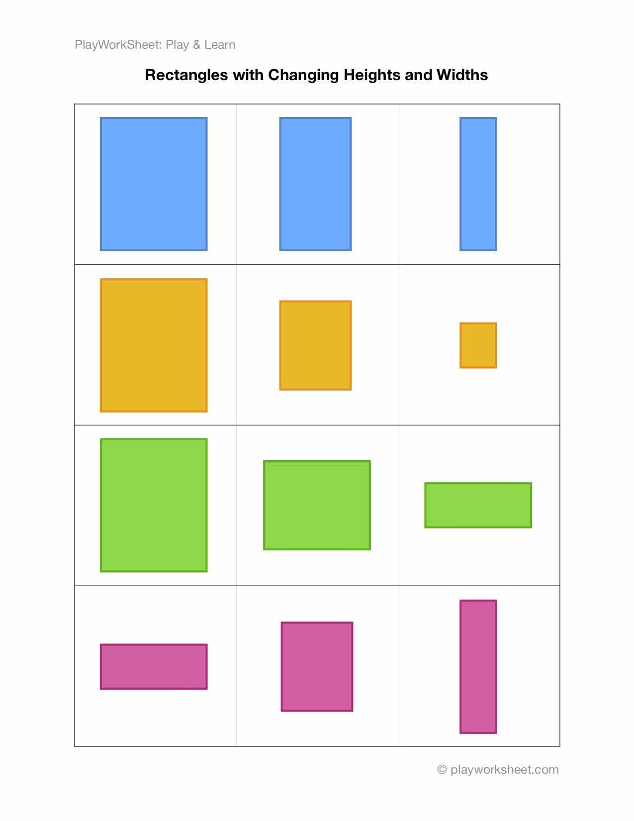 Rectangles With Changing Dimensions In Width And Height