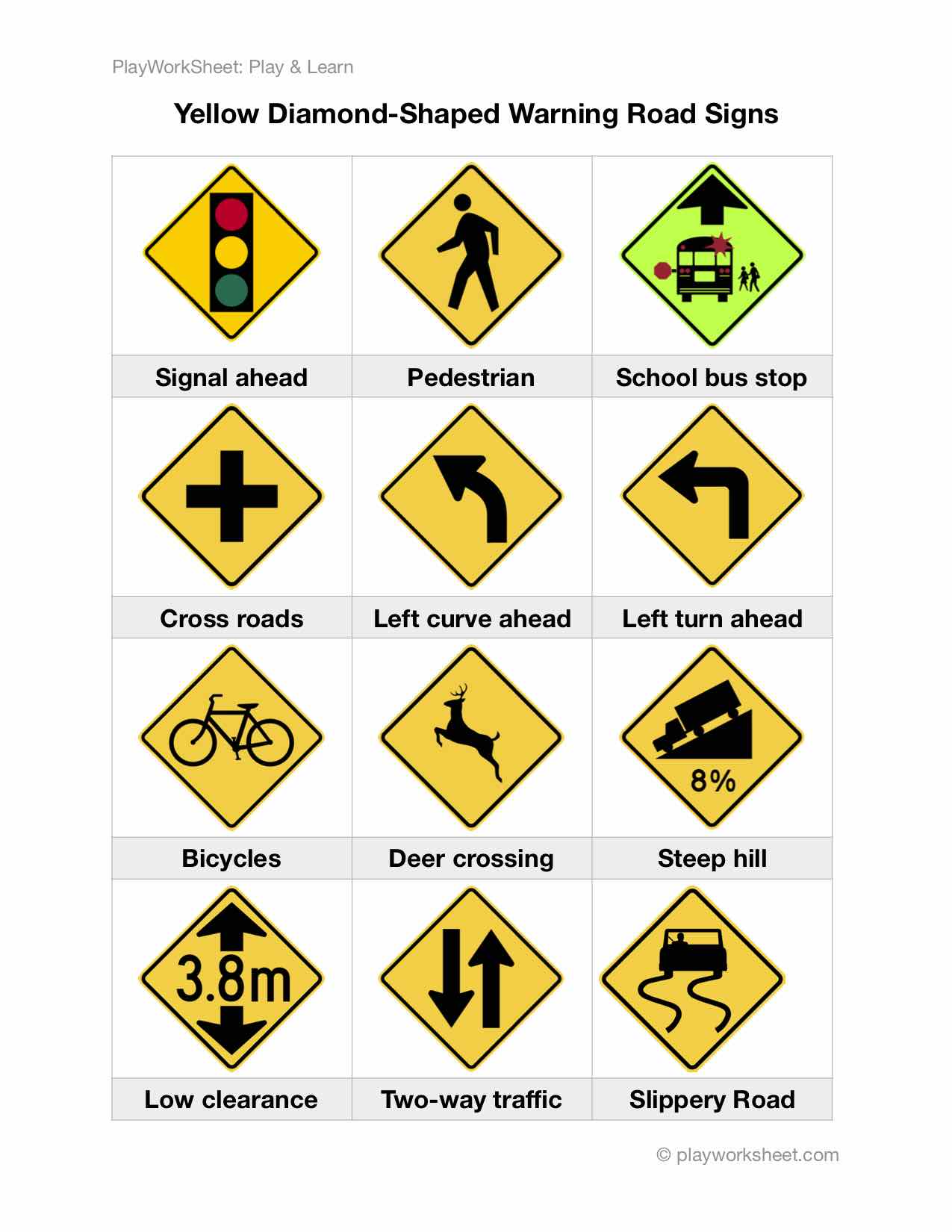 Yellow Diamond Shaped Warning Road Signs