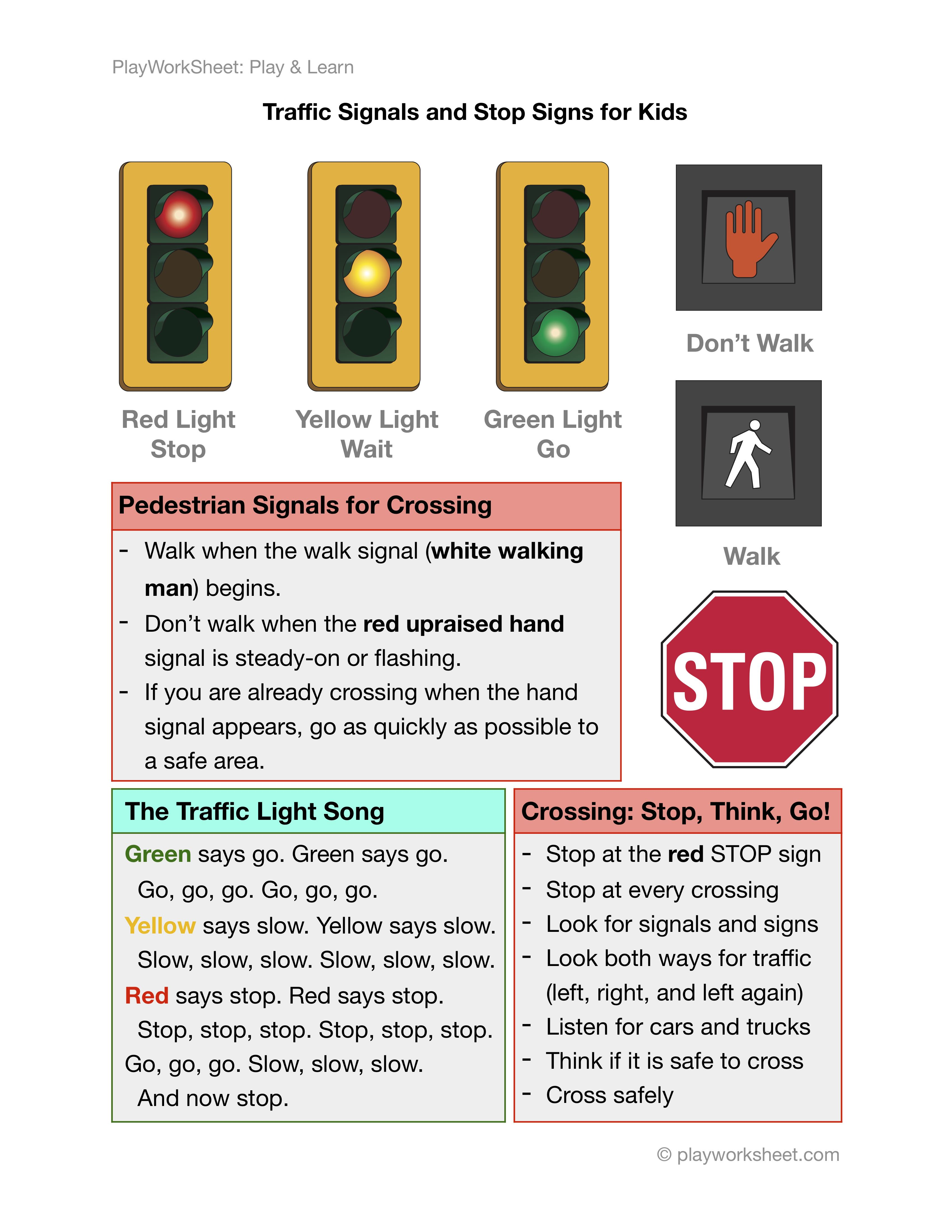 Traffic Light Pedestrians Signals And Stop Signs For