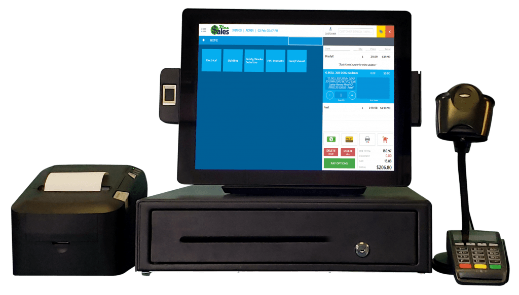 POS system including printer, scanner and cash drawer