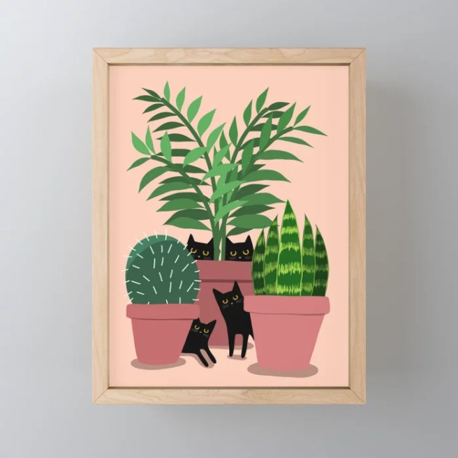 Black Cats & Potted Plants Framed Mini Art Print