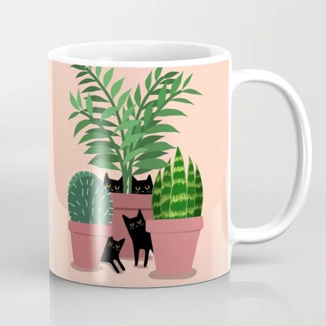 Black Cats & Potted Plants Coffee Mug
