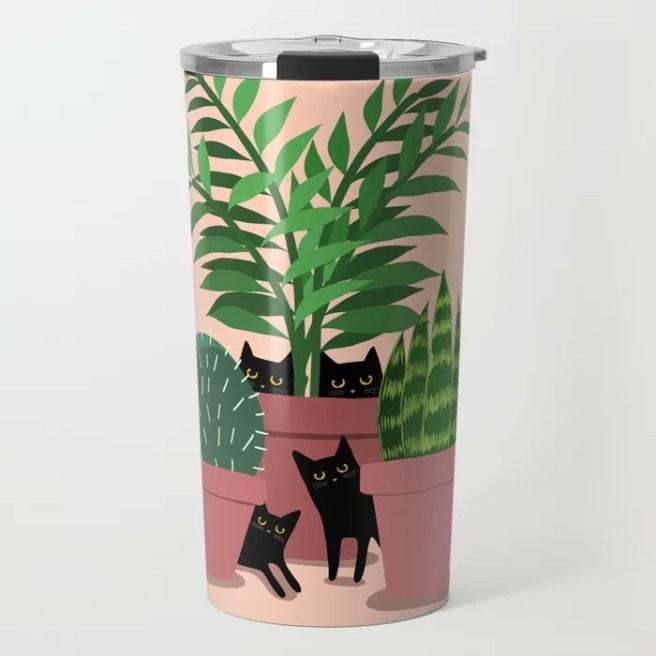Black Cats & Potted Plants Travel Mug