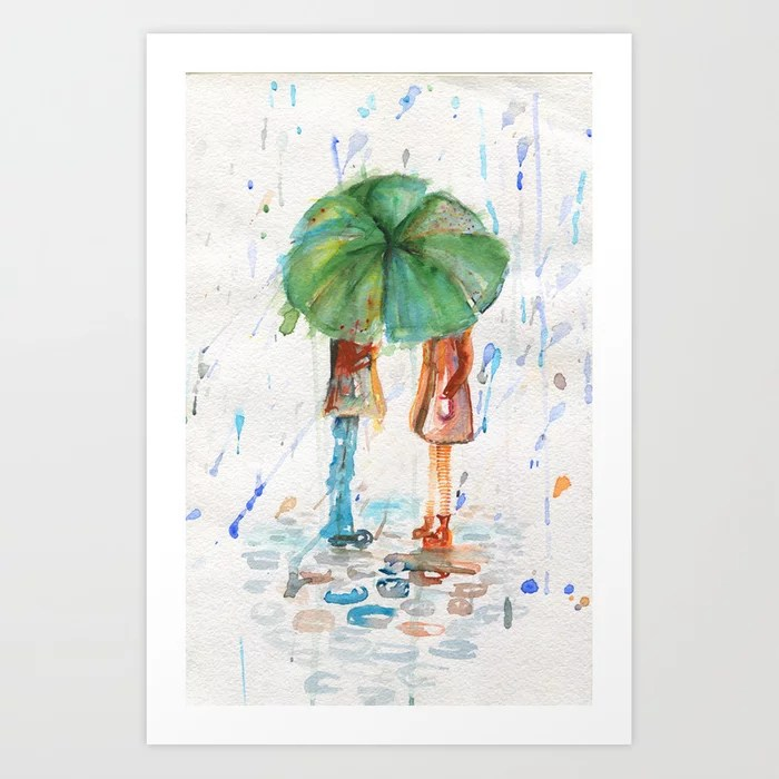 Sunday's Society6 | Watercolor art print, couple under green umbrella in the rain