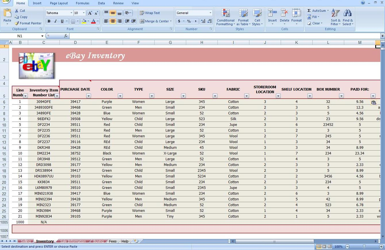 spreadsheet track profit inventory software