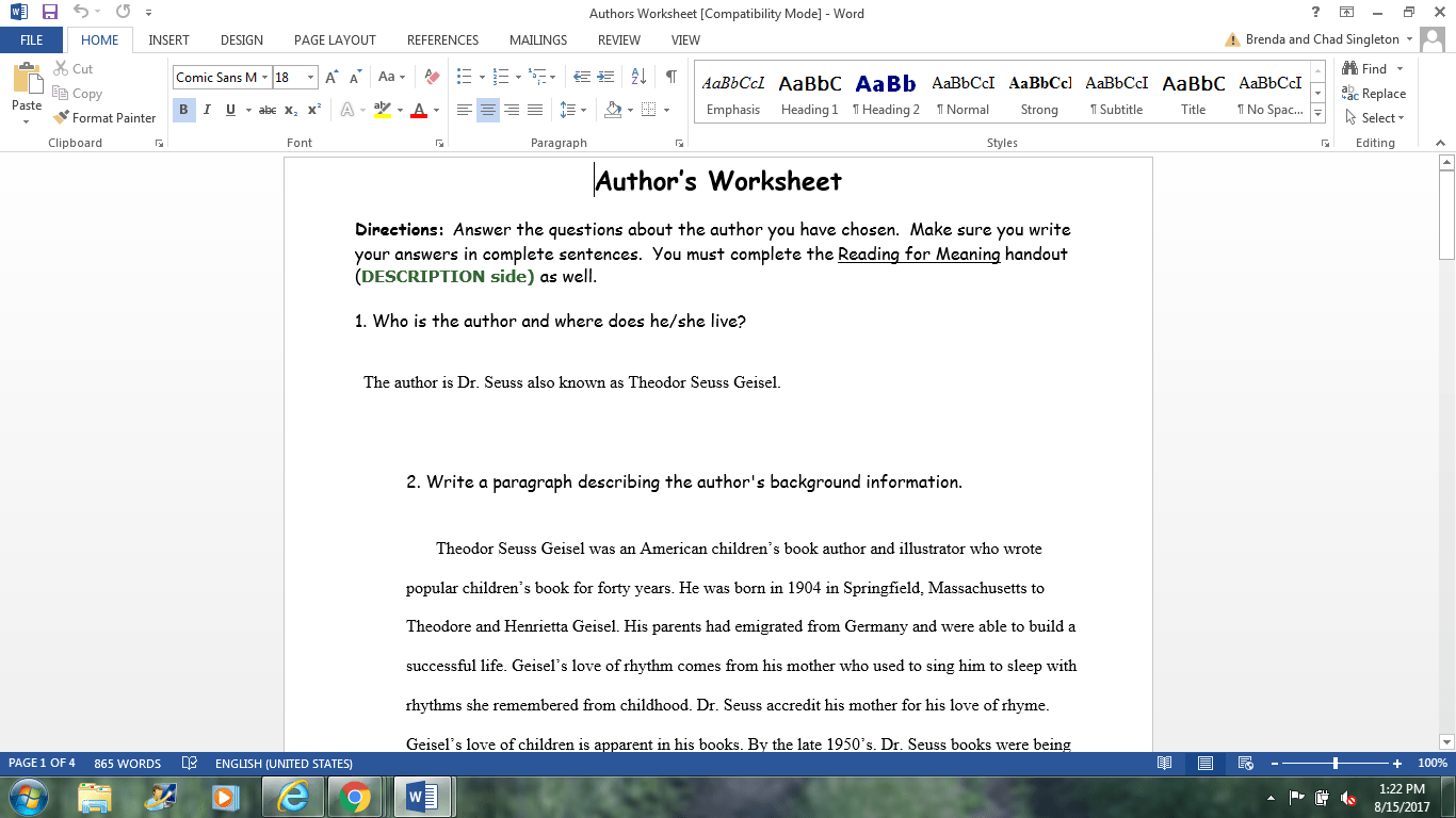 Authors Worksheet